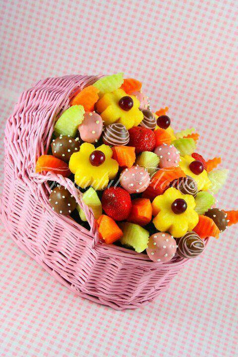 baby shower fruit basket food art pinterest