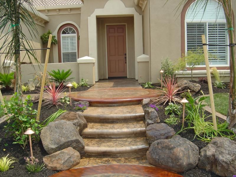 Front steps walkway front yard landscaping pinterest for House entrance designs interior