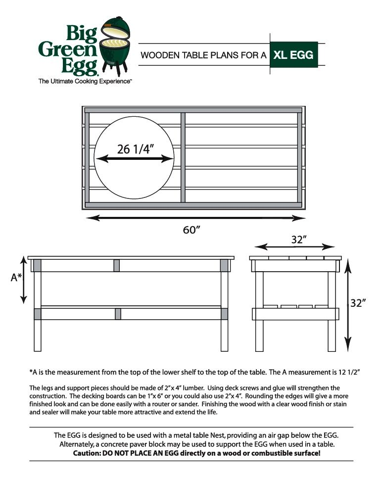 Diy bbq big green egg table big green egg recipes Green plans