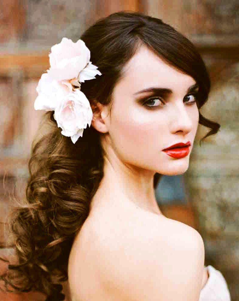single twist hairstyle : Brides side swept flower crown wedding hairstyles Pinterest