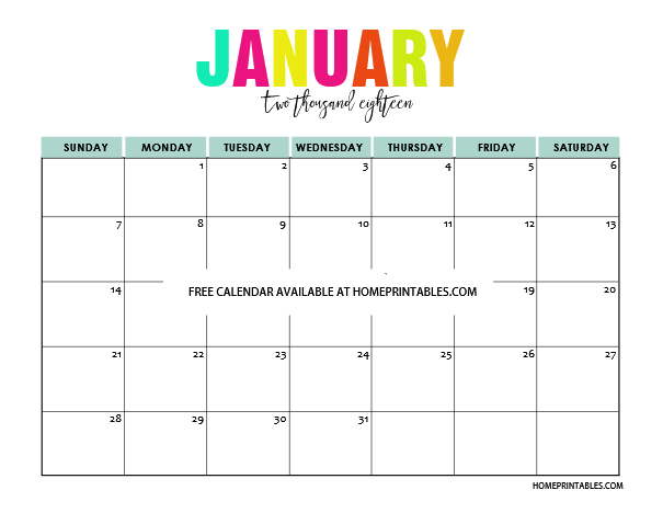 printable-January-2018-calendar.png (605×468) | clase | Pinterest