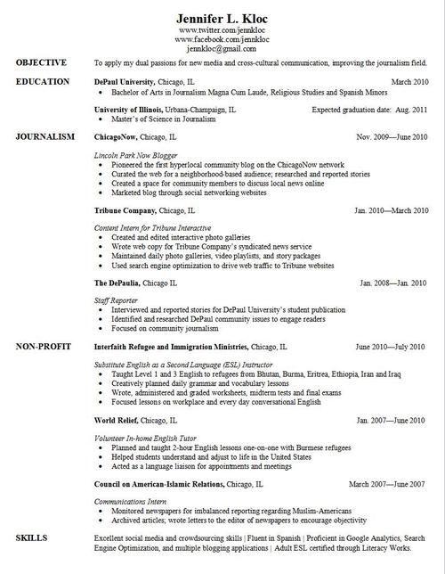 Cv Resume For Graduate School Application