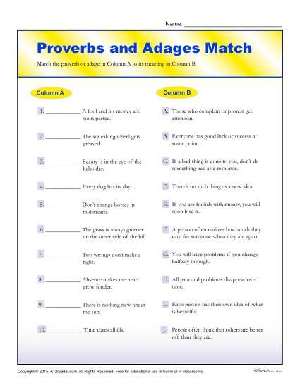 Proverbs and adages match worksheet for 4th and 5th grade proverbs and free printable worksheets