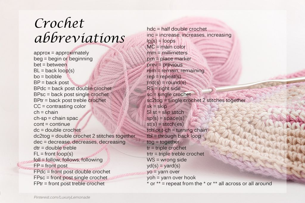 Crocheting Abbreviations : Crochet Abbreviations