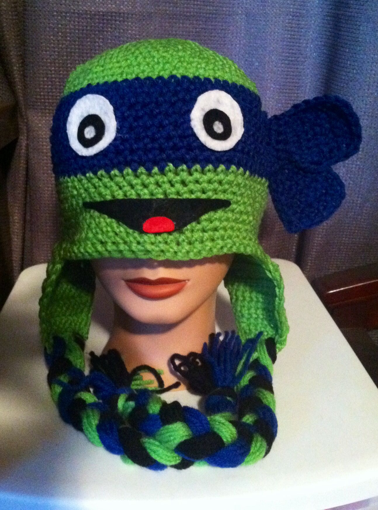 Crochet Pattern For A Turtle Hat : Crocheted Ninja Turtle Hat to crochet... Pinterest