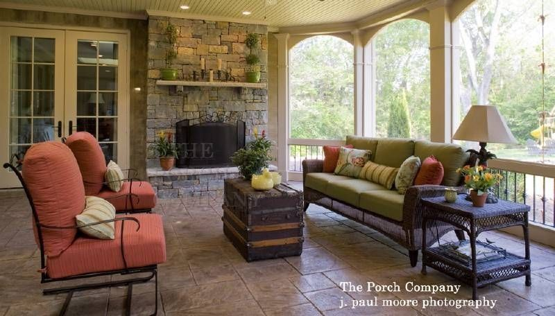 Screened in porch with fireplace screened porches roofs for Screened porch furniture layout