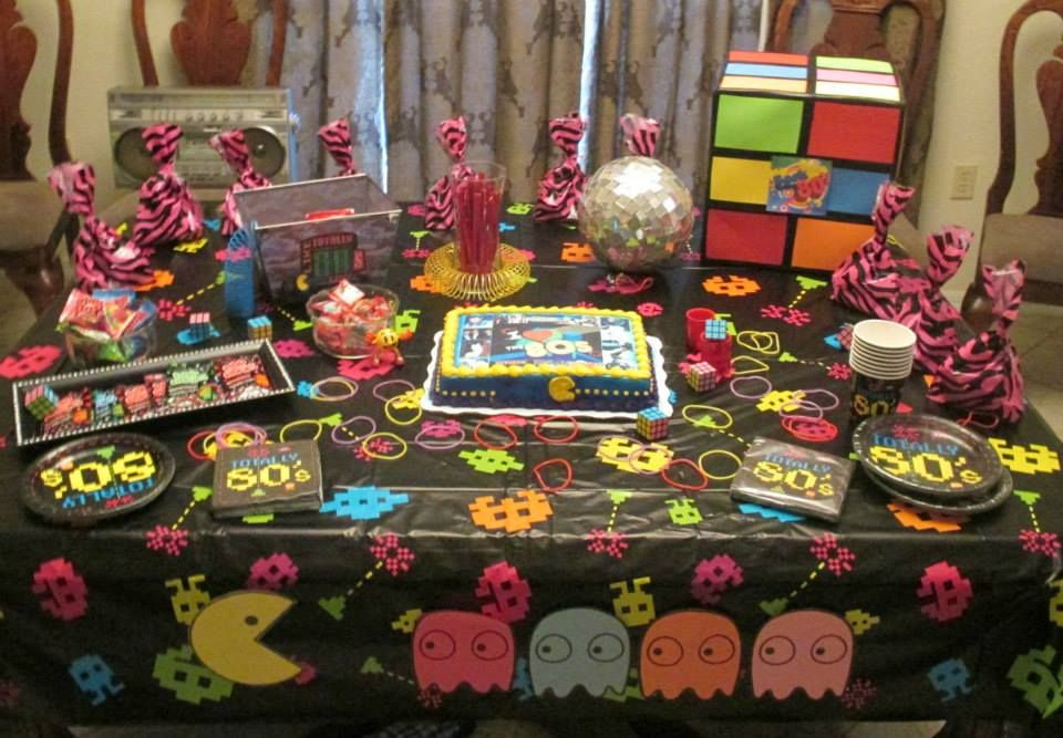 80s table decorations 80s cake pinterest for 80 birthday decoration ideas