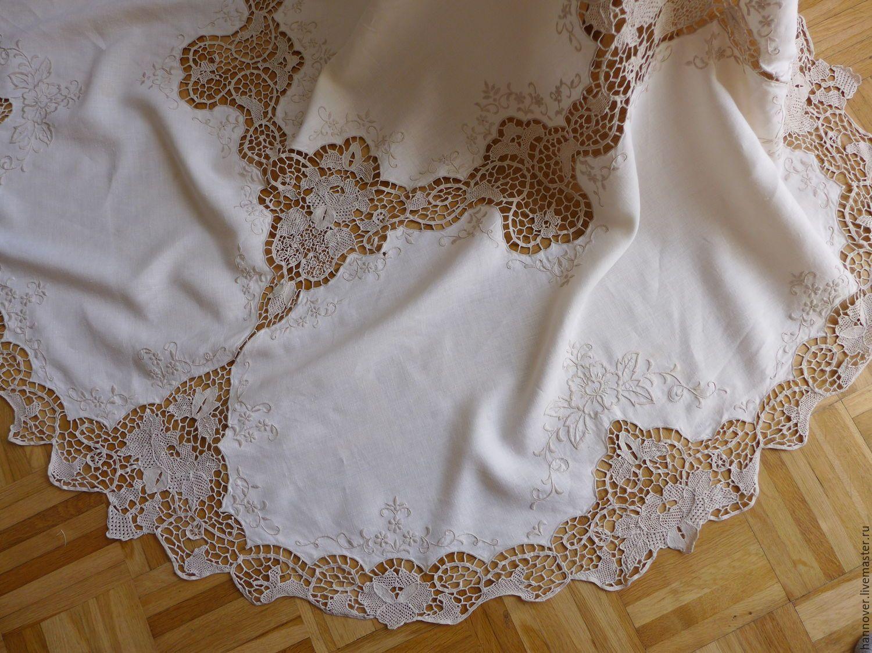 Льняные скатерти с кружевом и вышивкой 261