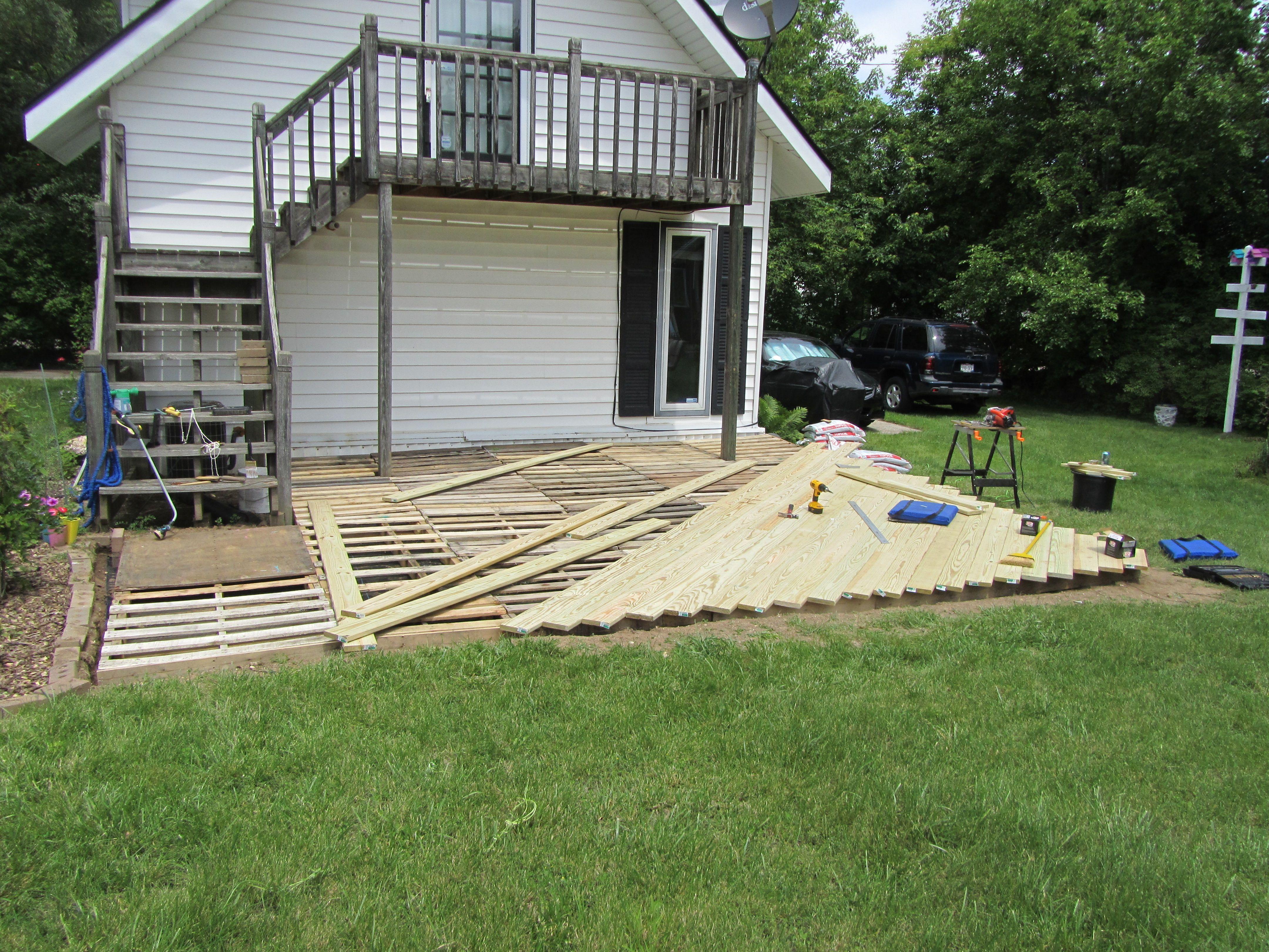 Our pallet deck garden pinterest for Garden decking from pallets