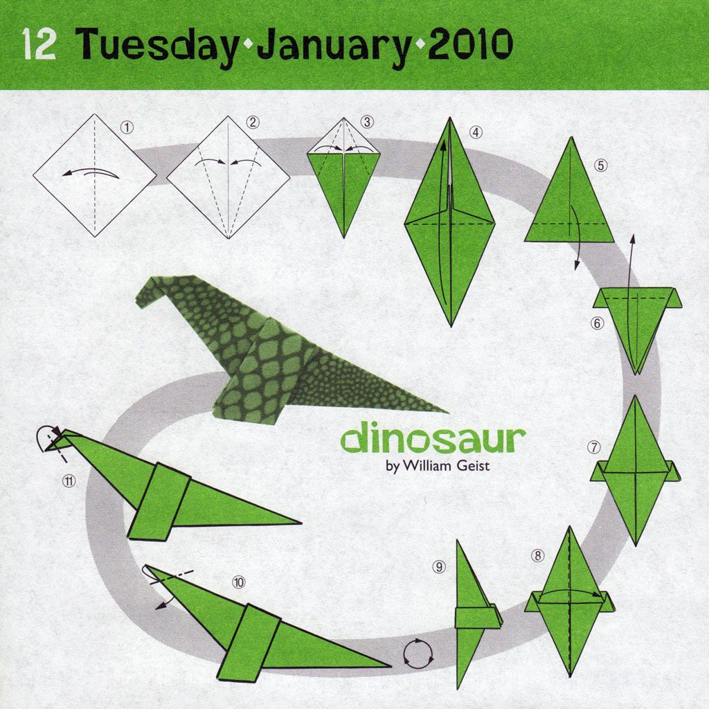 Как сделать динозавра из оригами