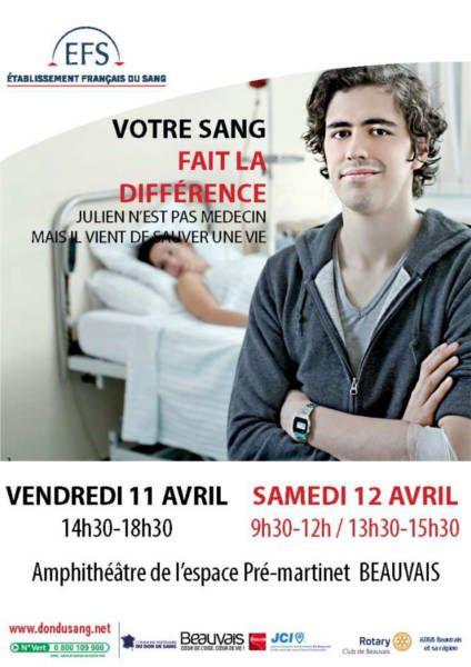 affiche pour pour la collecte du sang, don du sang à Beauvais