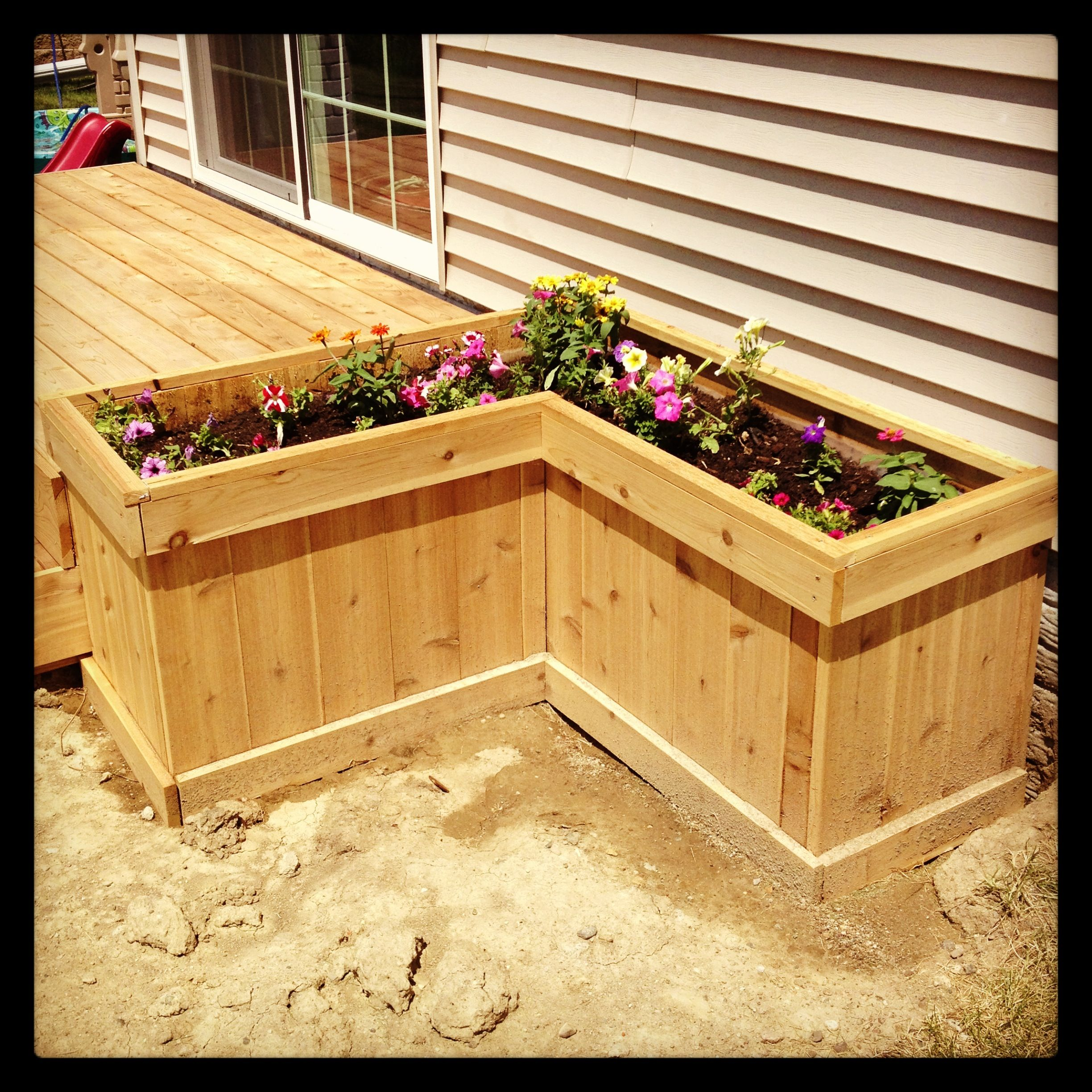 Deck planter box  For the YardGardenPlanter boxes  Pinterest