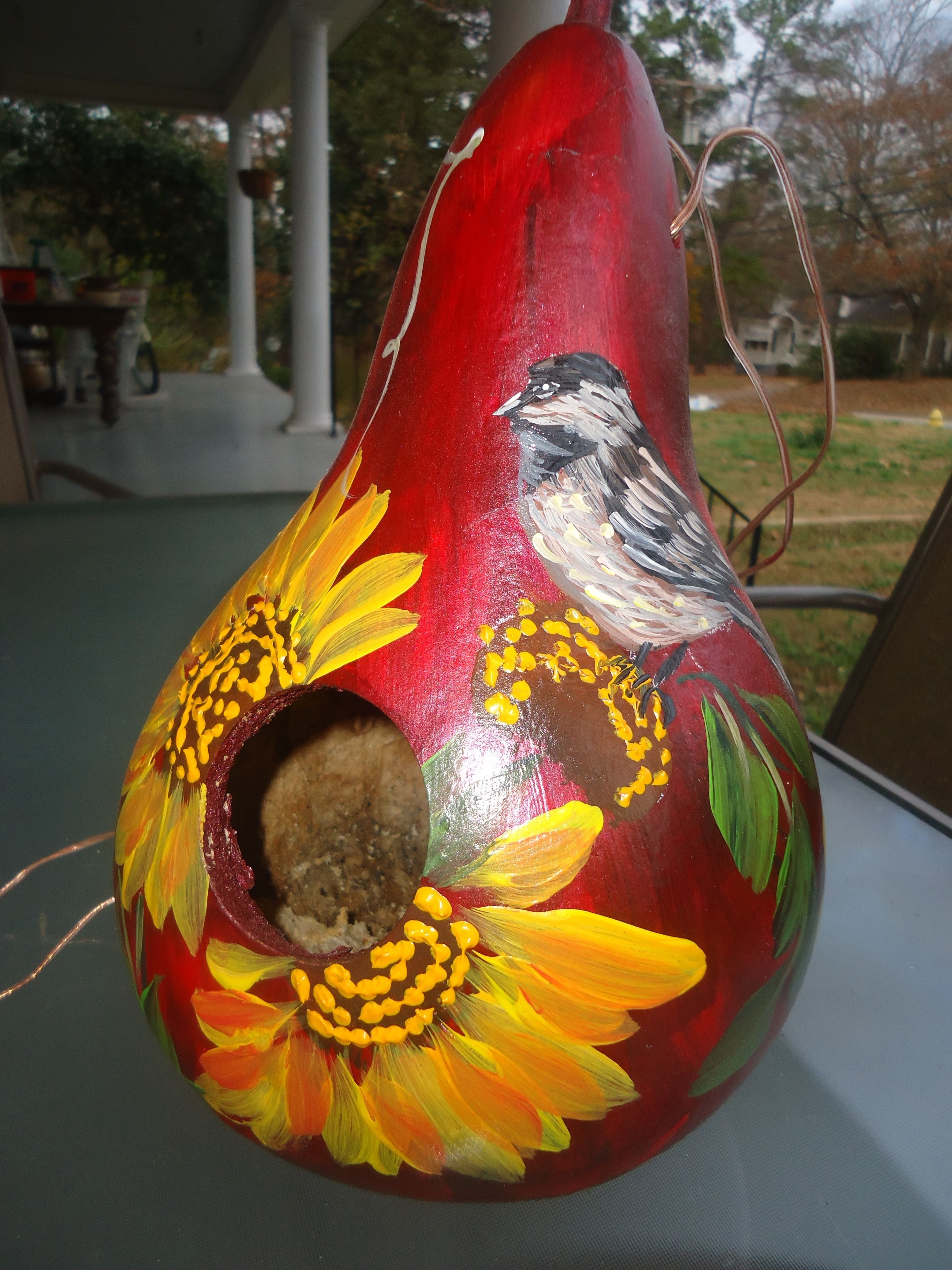 Chickadee gourd painted by susan art projects pinterest
