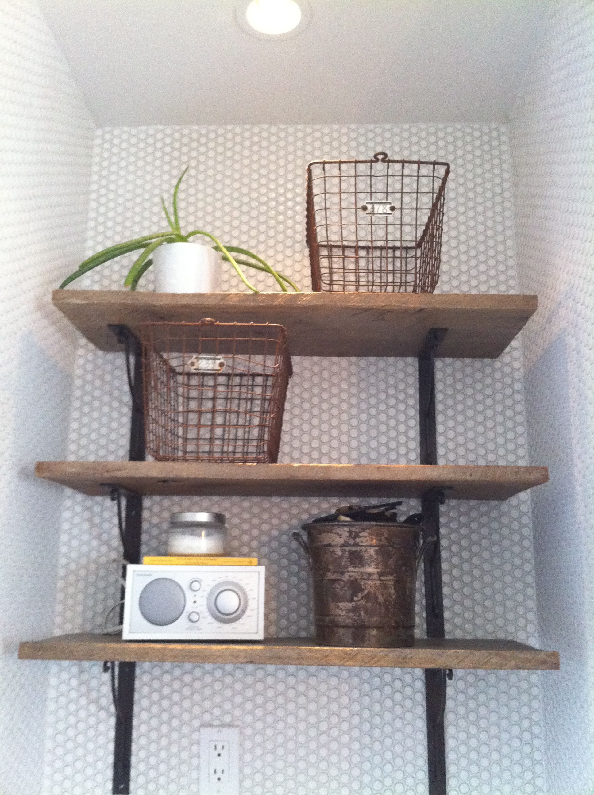 Very Impressive portraiture of reclaimed wood shelves with new brackets For the Home Pinterest with #7D6B4E color and 1936x2592 pixels