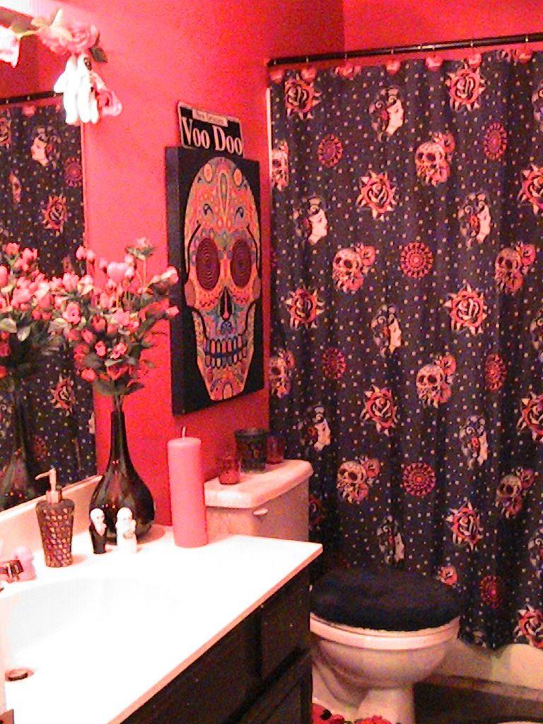 Red And Aqua Curtains DIA De Los Muertos Skull