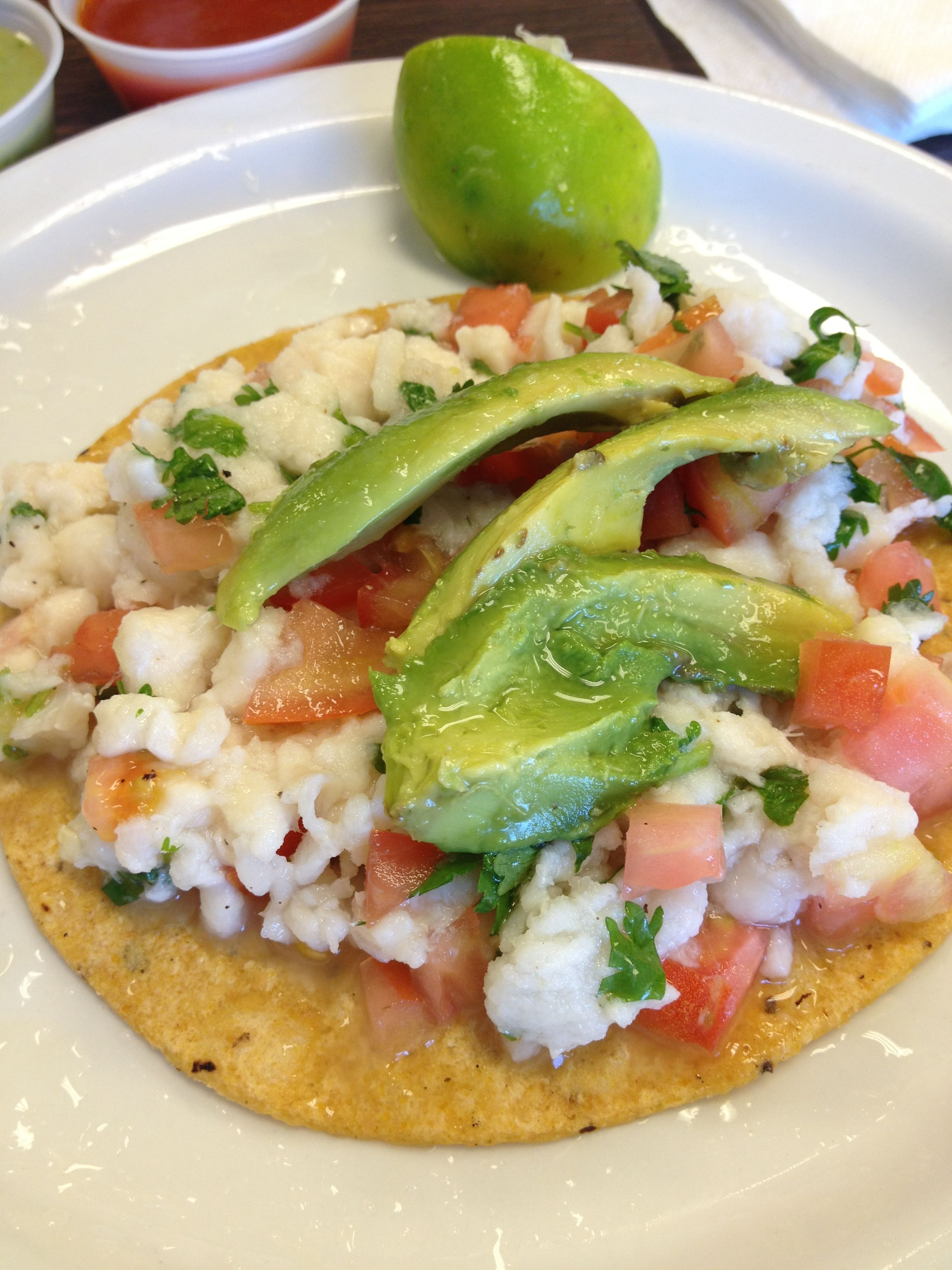 Ceviche tostada | Appetizers | Pinterest