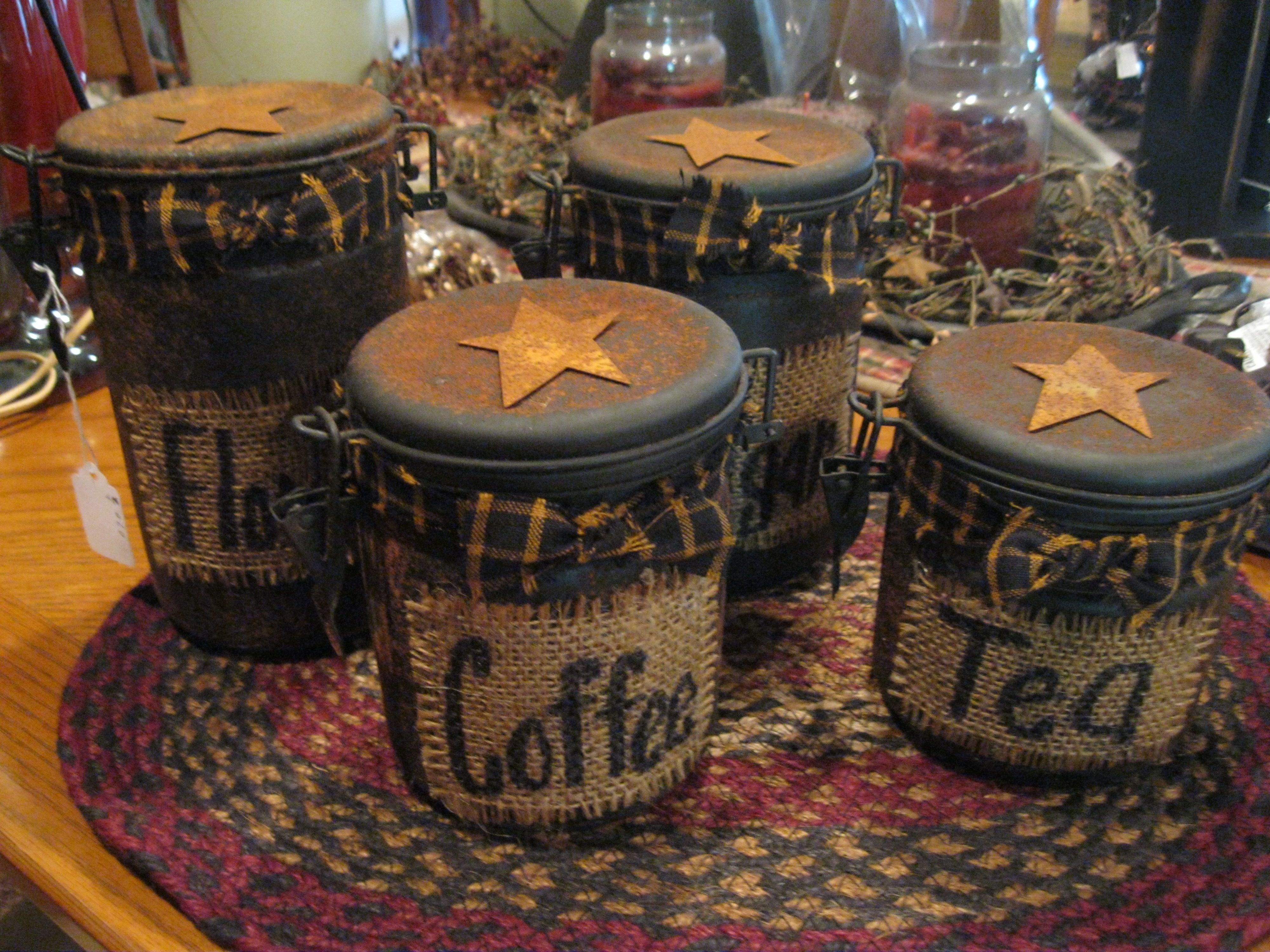 canisters primitive country treasures pinterest