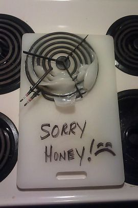 cutting board ~ recycled into a SYMPATHY CARD *lol*