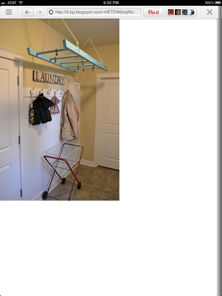 repurposed ladder for hanging space | repurposed furniture | Pinterest