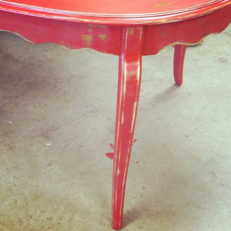 red distressed table