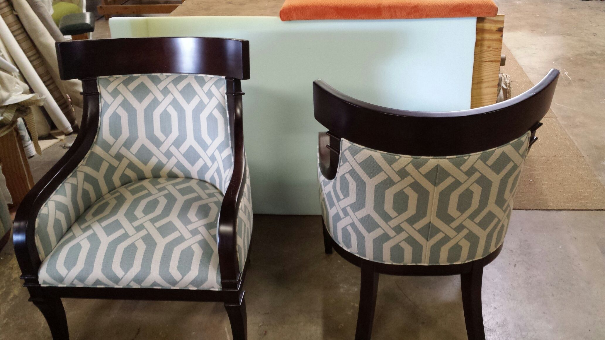 Custom upholstered barrel chairs house and home pinterest