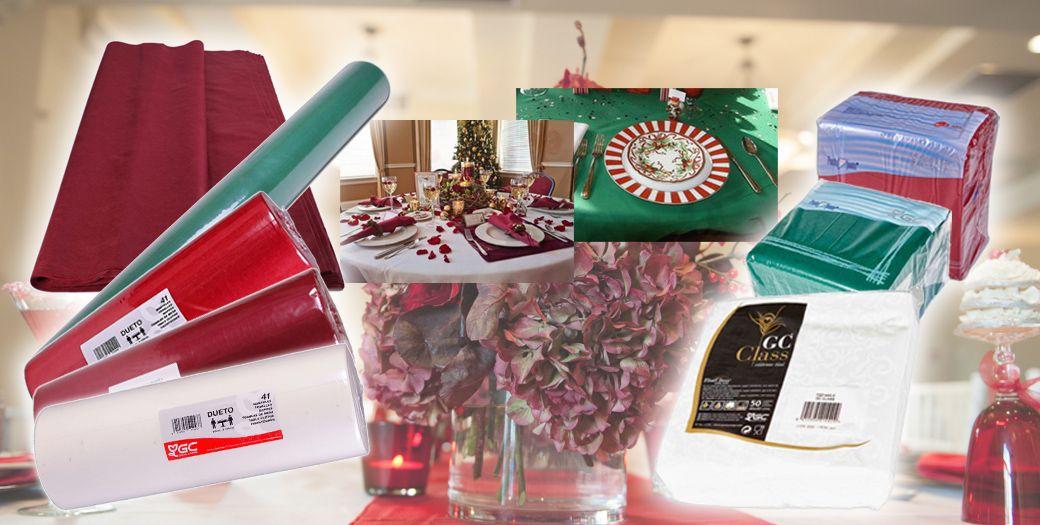 Manteles y servilletas de diseño y colores diferentes de celulosa para estas fiestas de Navidad