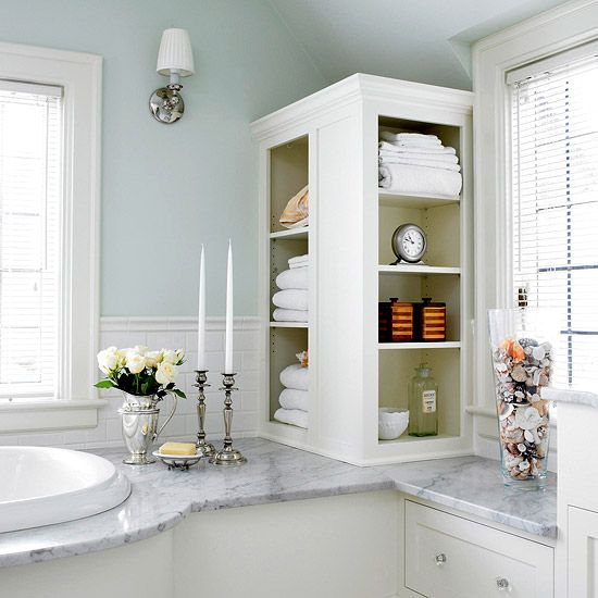 This could also be the answer to a small bathroom w/ a need for storage. I have a large counter space but it cuts down on floor space, this is on my 'to do' list