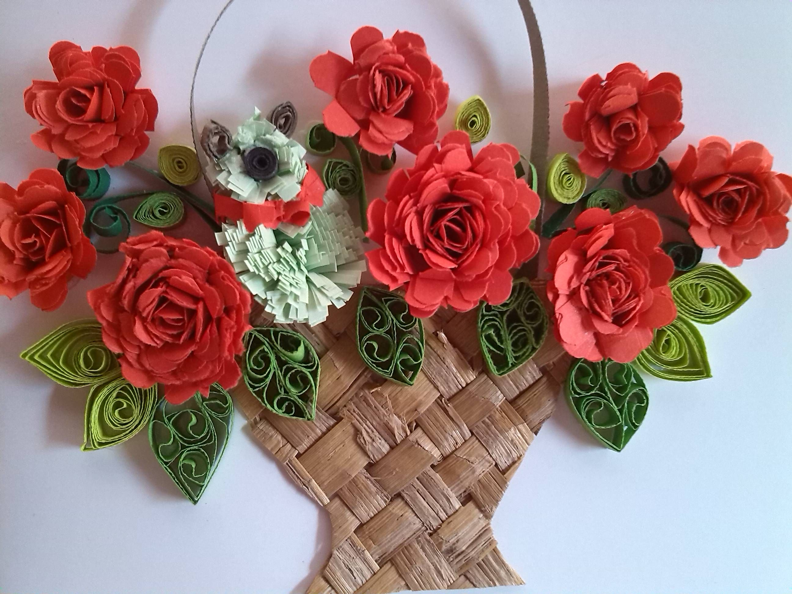my paper quilling flower baskets greeting car