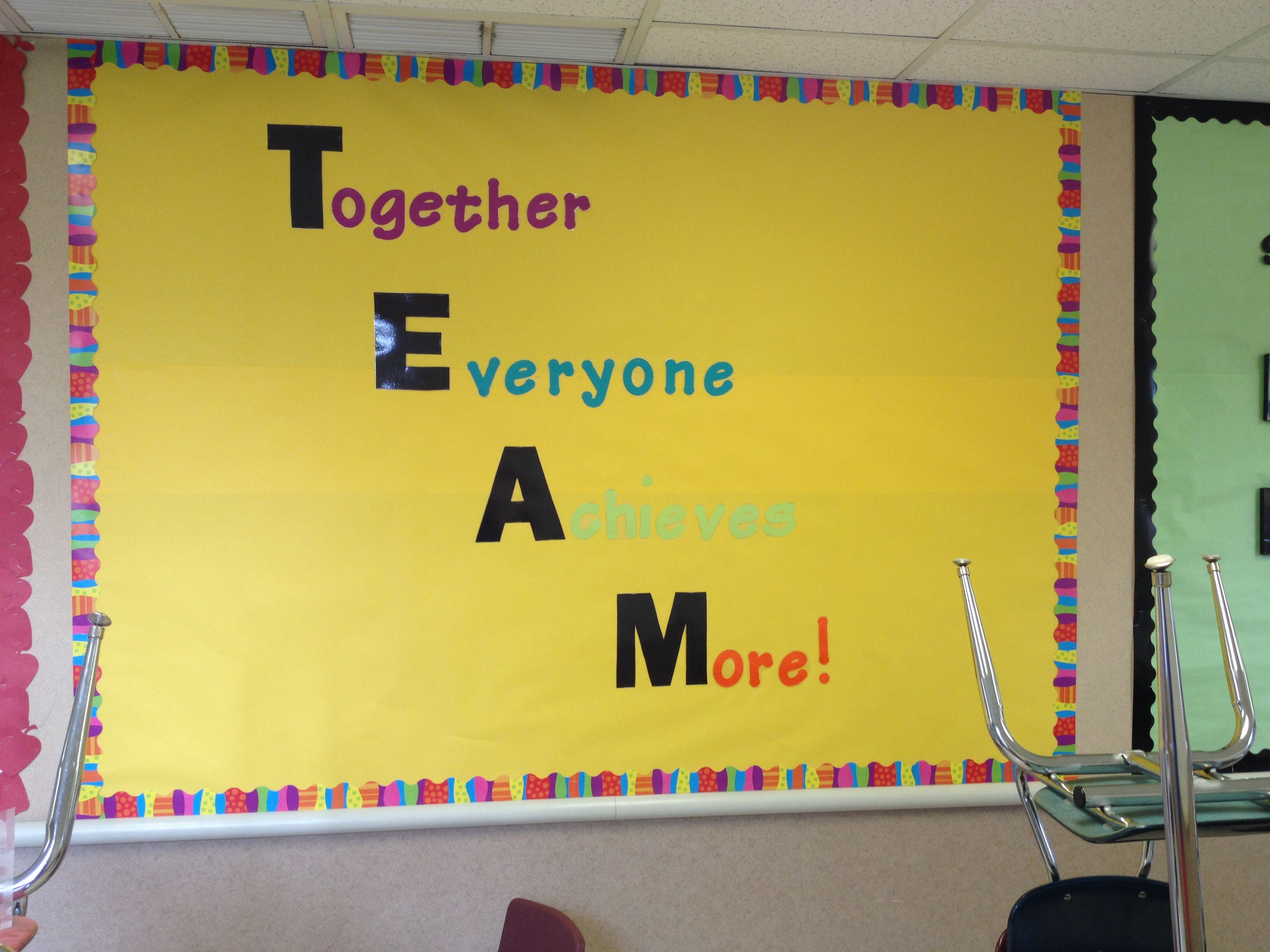 Team work bulletin board classroom pinterest for Decorating bulletin boards for work