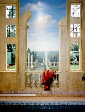 """Trompe Loeil Murals  Window mural painted in a powder room """"Trompe ..."""