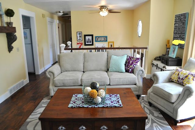 living room design split level  split level living room--I love the wall color and that old trunk in ...