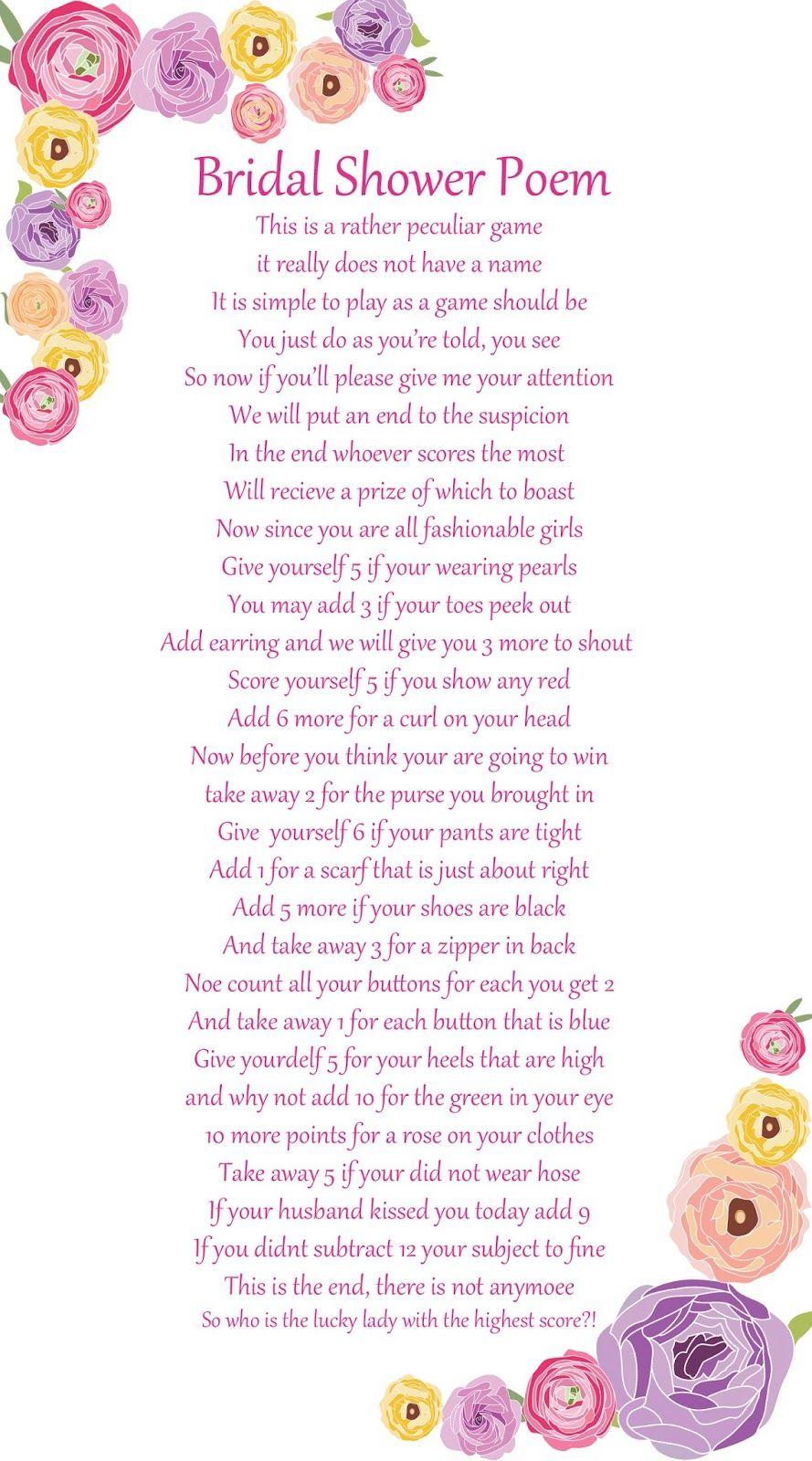 Baby Gift List Poem : Fun bridal shower games and ideas eweddingfavors