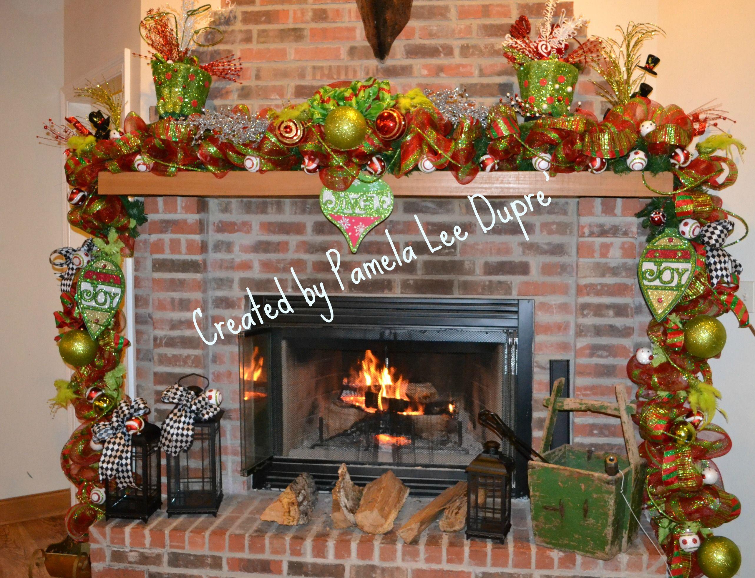 Christmas garland fireplace tophats wreaths pinterest for Christmas garland on fireplace