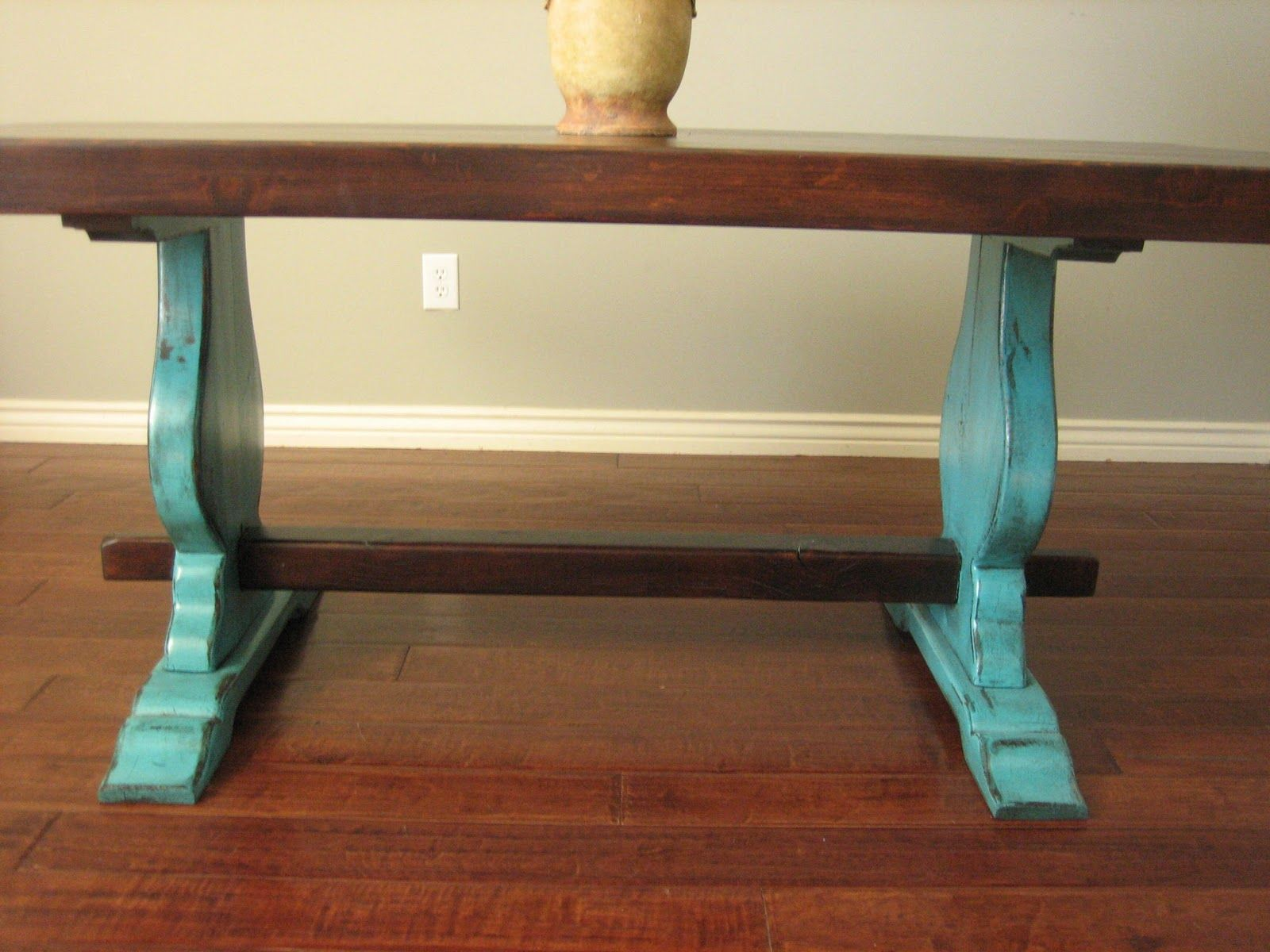 Refinished Kitchen Tables Watch More Like Turquoise Dining Table