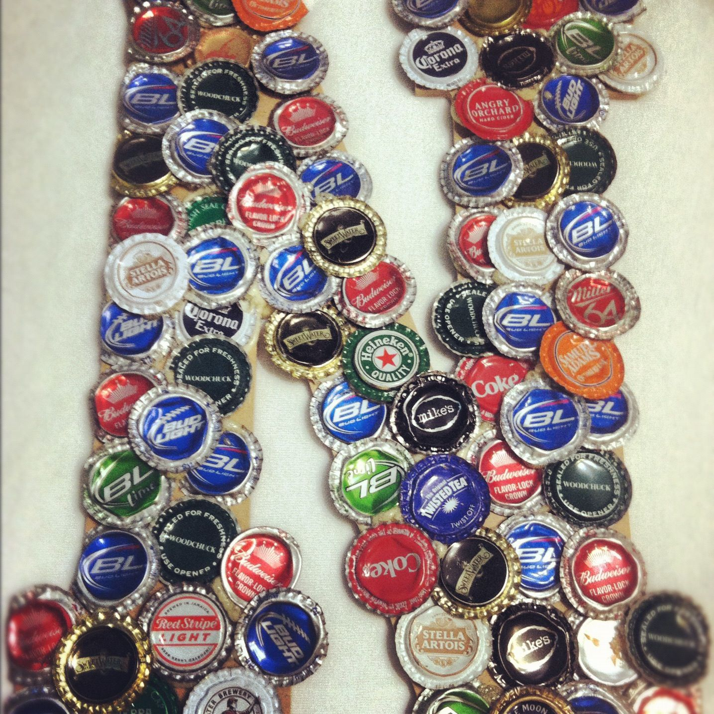 Bottle cap letter my crafts pinterest for What to make with beer bottle caps