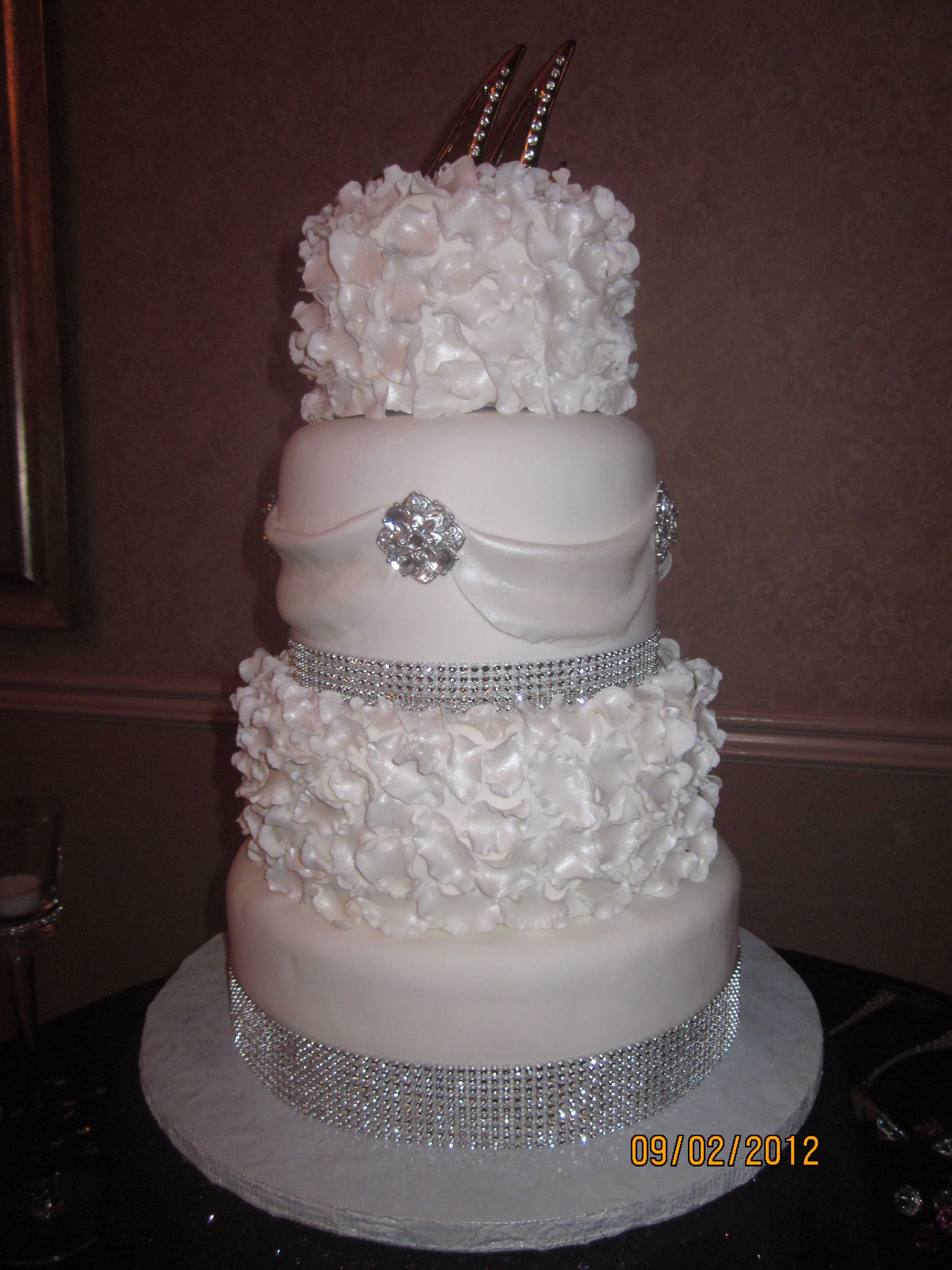 Classic White Wedding Cake With Bling All Things Beautiful Pint