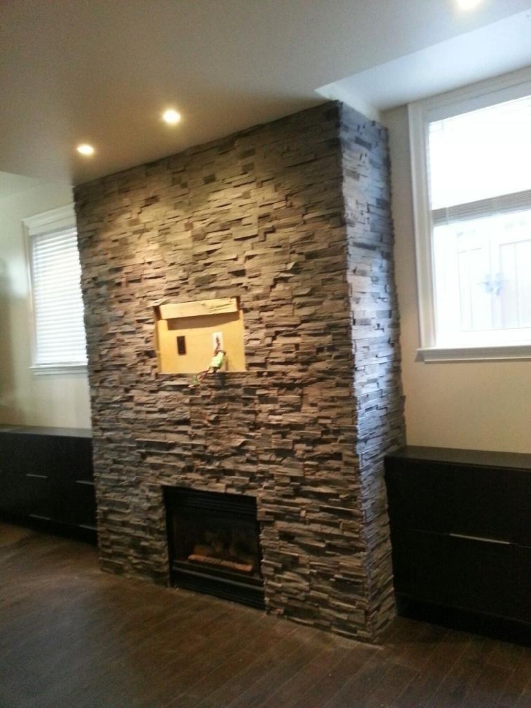 stone veneer fireplace basement pinterest