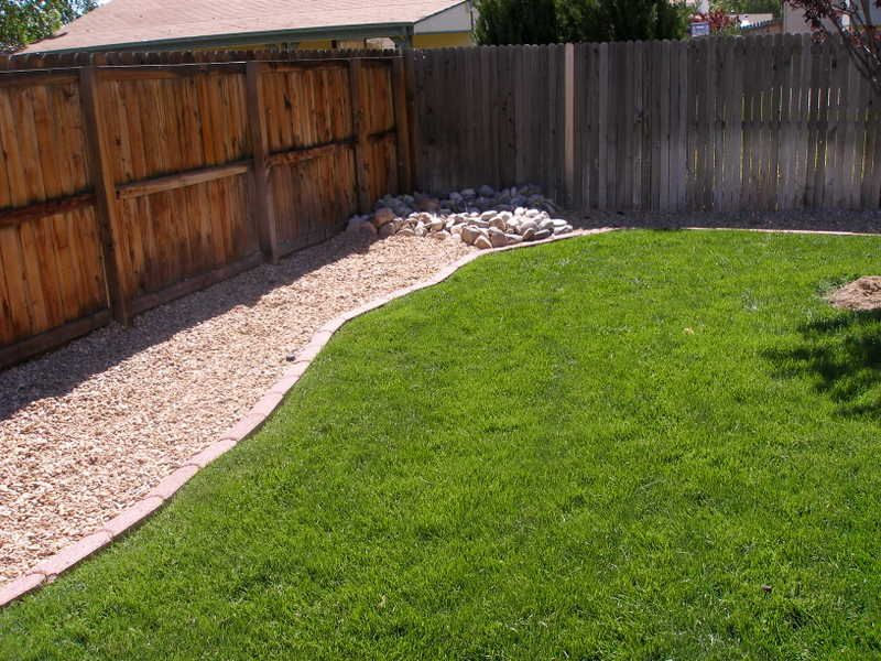 Pebble fence trail backyard project pinterest for Dog friendly landscape design