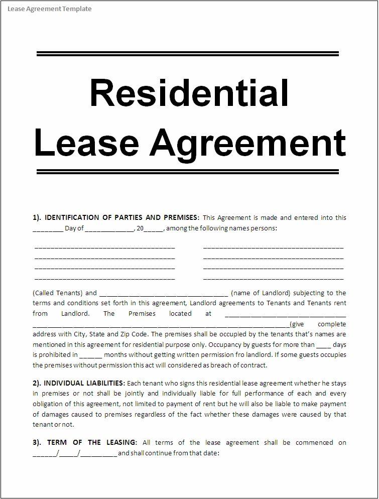 Editable Rental Agreement Template printable editable blank pdf – Lease Agreement Form Template