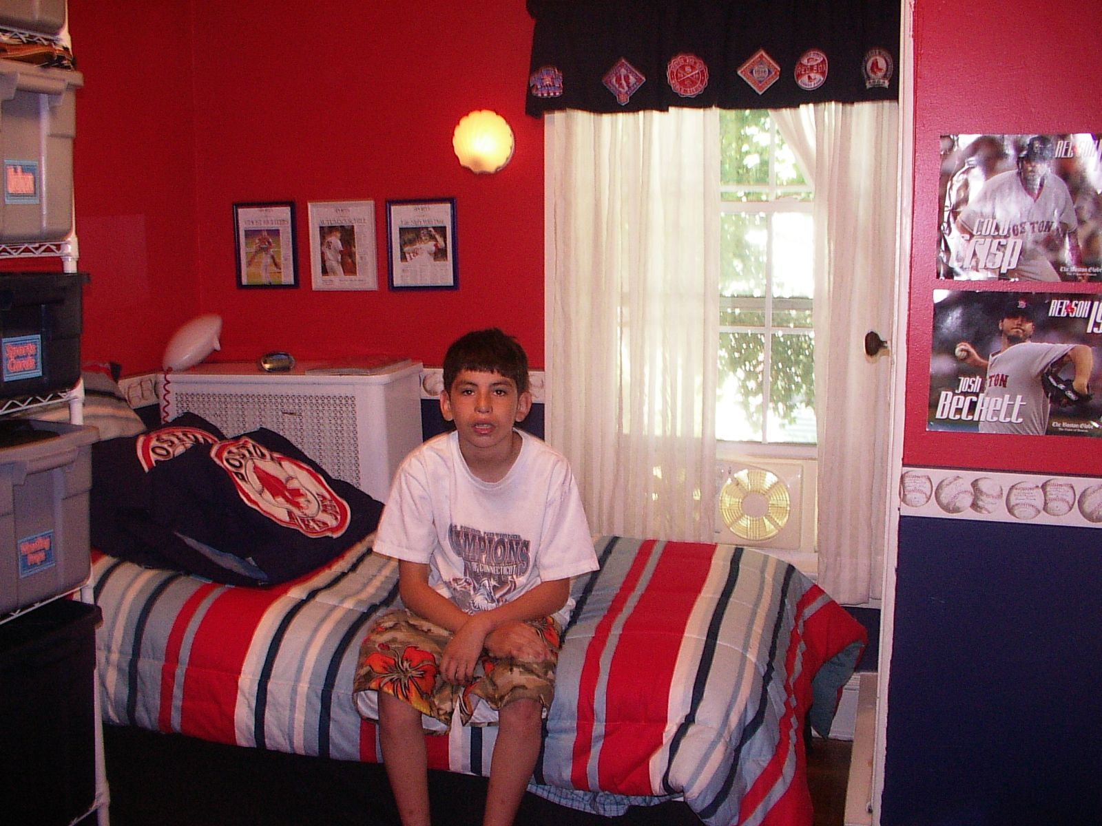 Another view of my son 39 s red sox room home ideas for Boston red sox bedroom ideas