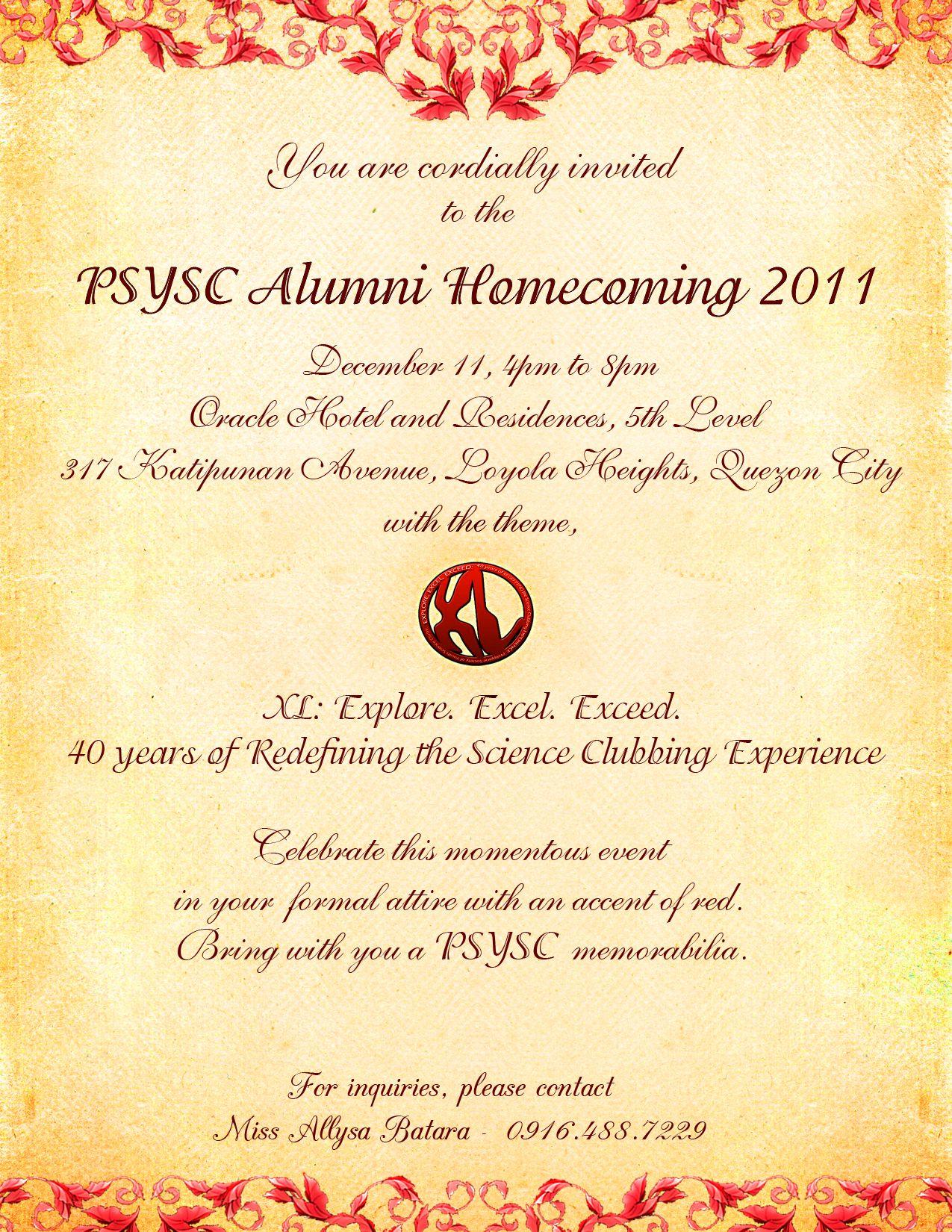 Homecoming invitation invitationswedd 40th alumni homecoming invitation everything psysc stopboris Images