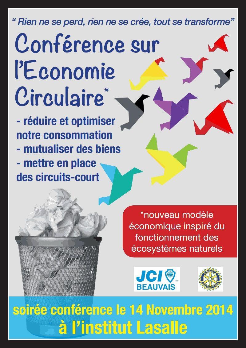 Conférence économie circulaire, nouveau modèle inspiré des écosystèmes, à l'institut LaSalle, avec le Rotary et la JCE Beauvais