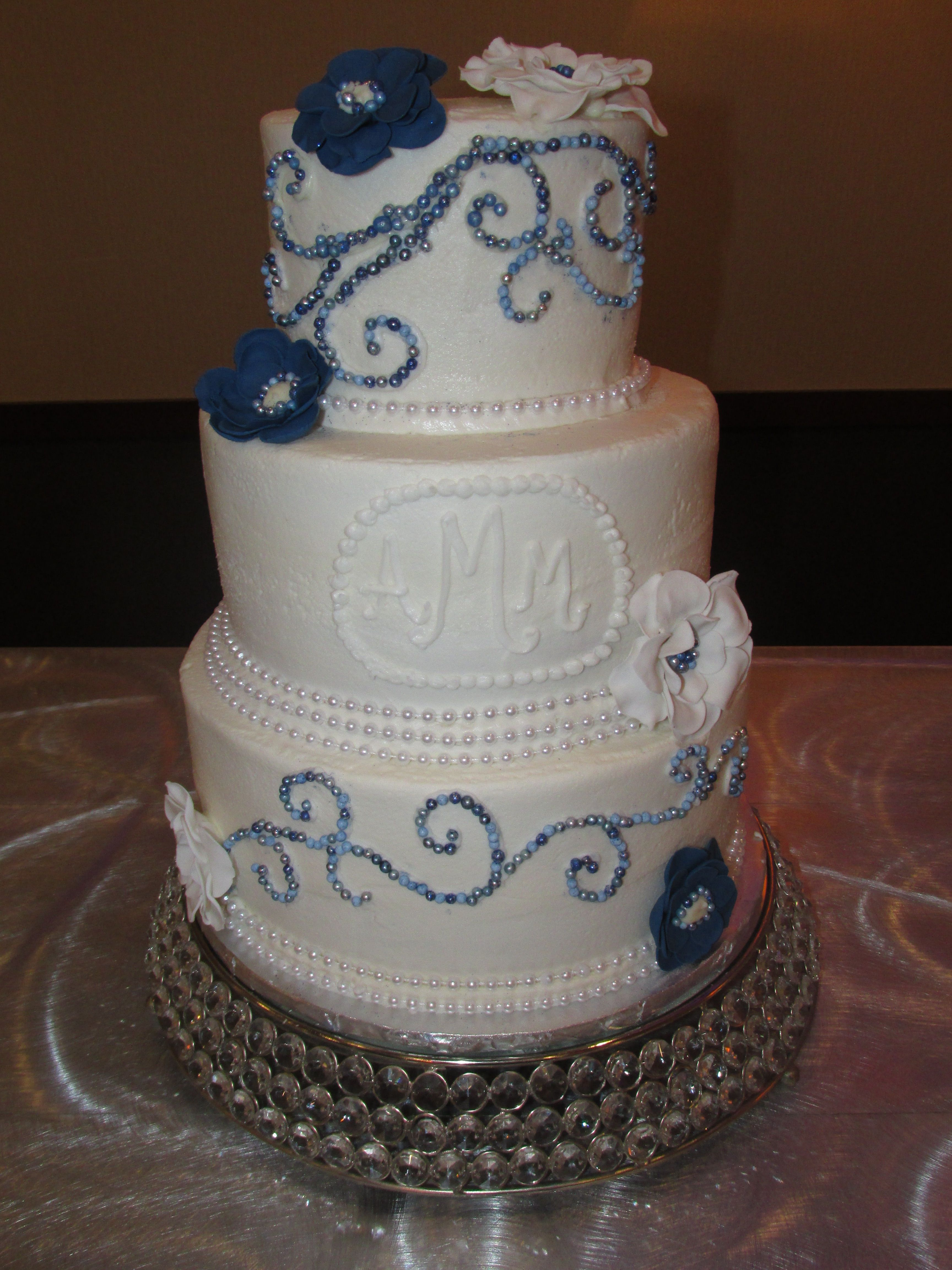 Silver & navy blue sparkles WEDDING CAKES