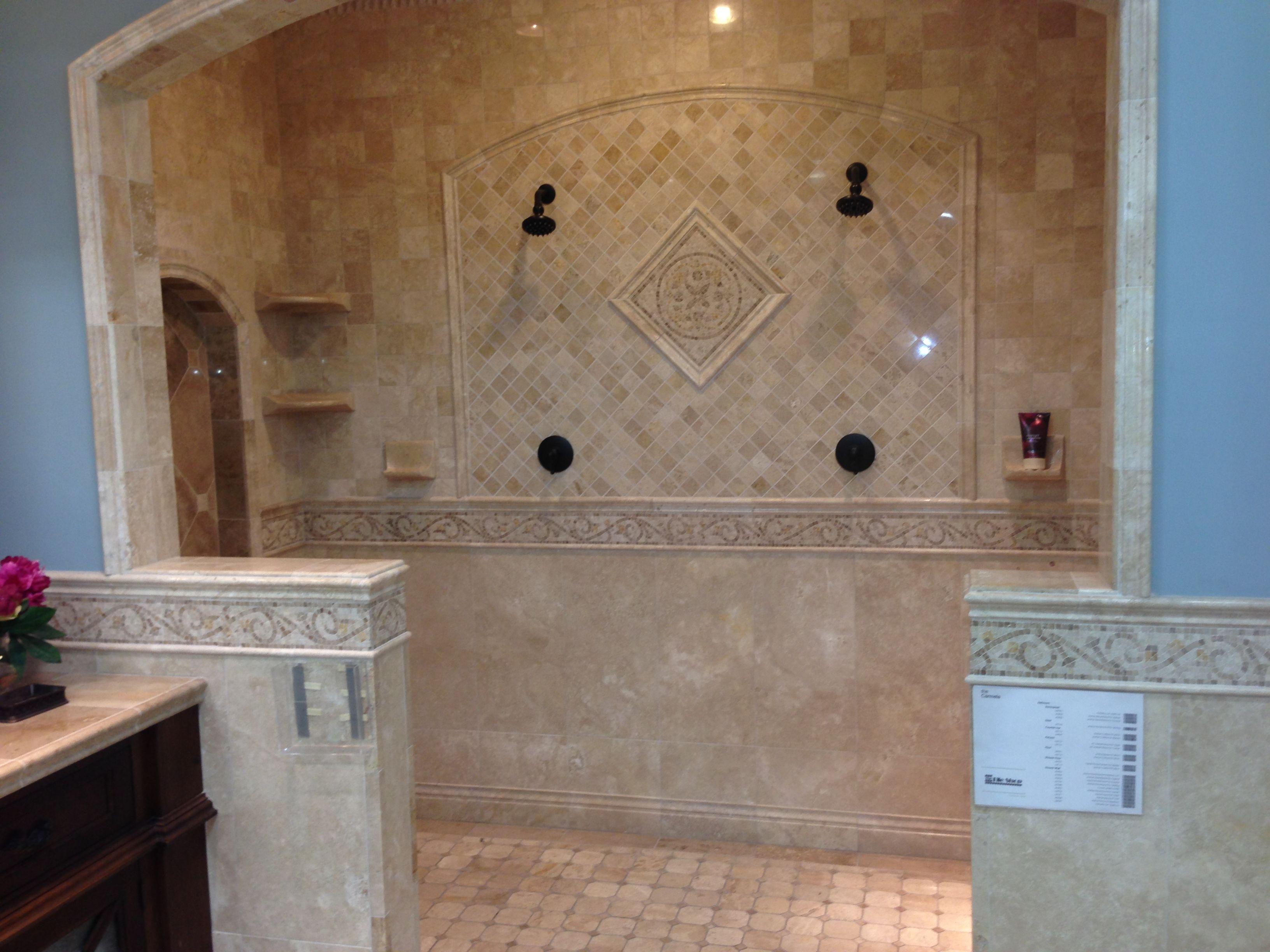 shower tile large walk in shower bathrooms pinterest. Black Bedroom Furniture Sets. Home Design Ideas