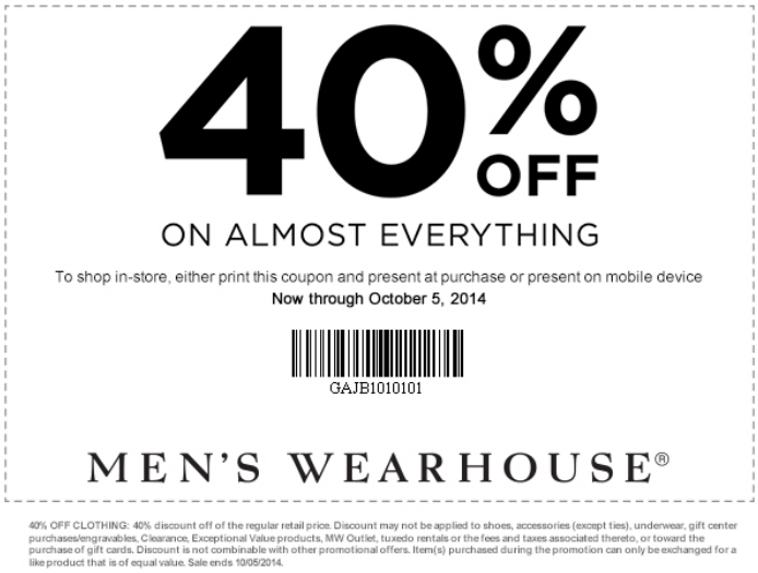 Mens warehouse discount coupon code