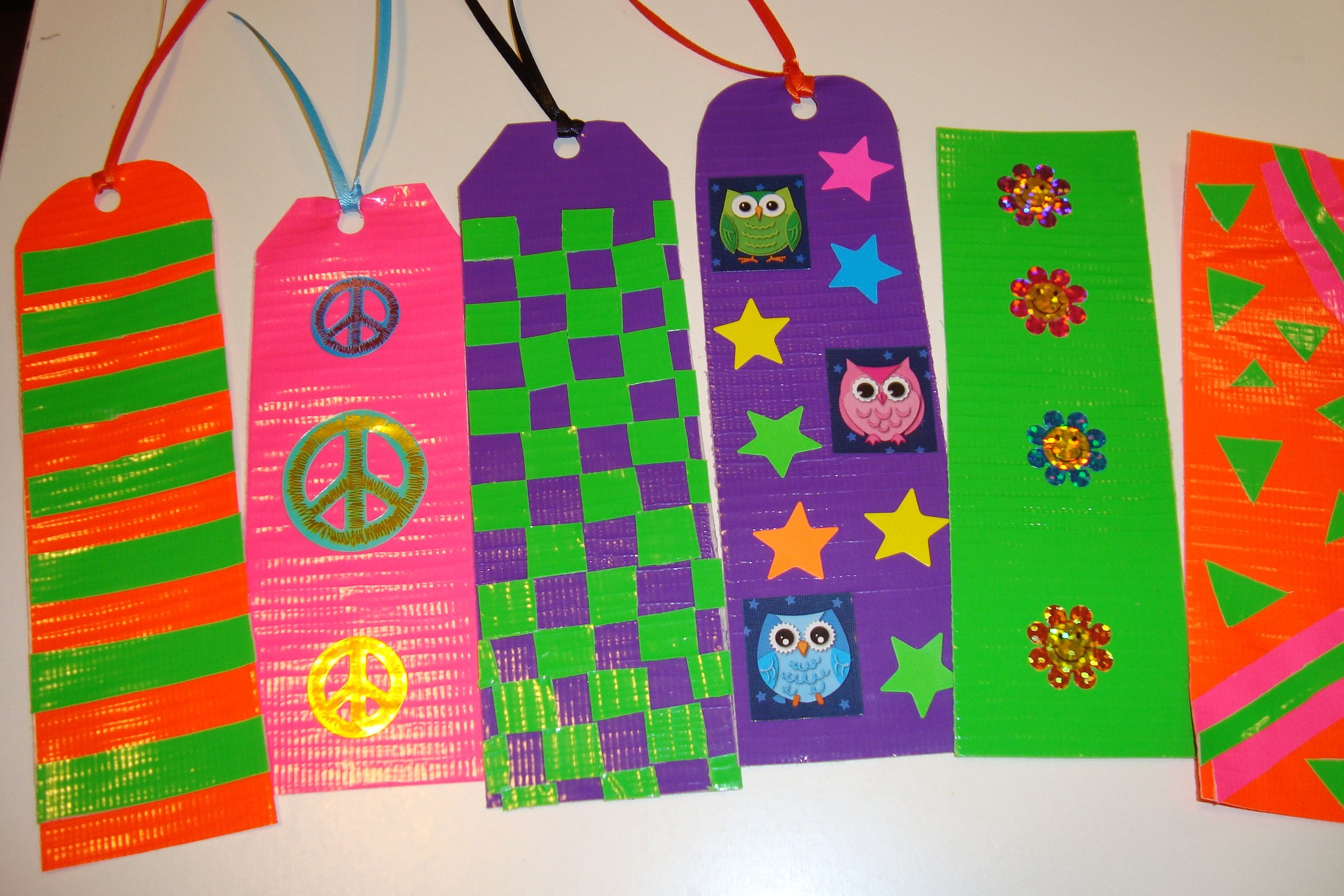 Duct tape bookmarks neon colors duct tape craft ideas for Duct tape bookmark ideas