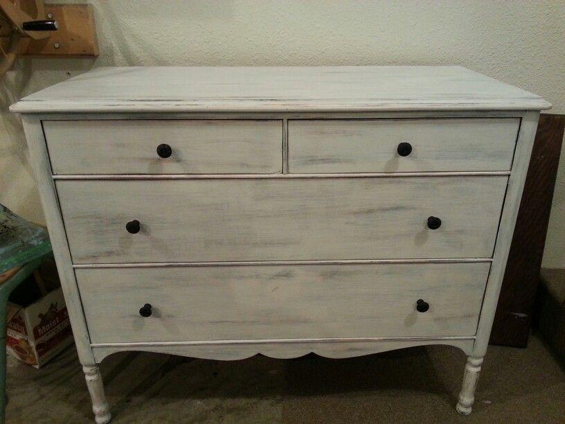 Best White Heavy Distressed Antique Dresser Junk2Treasures 400 x 300