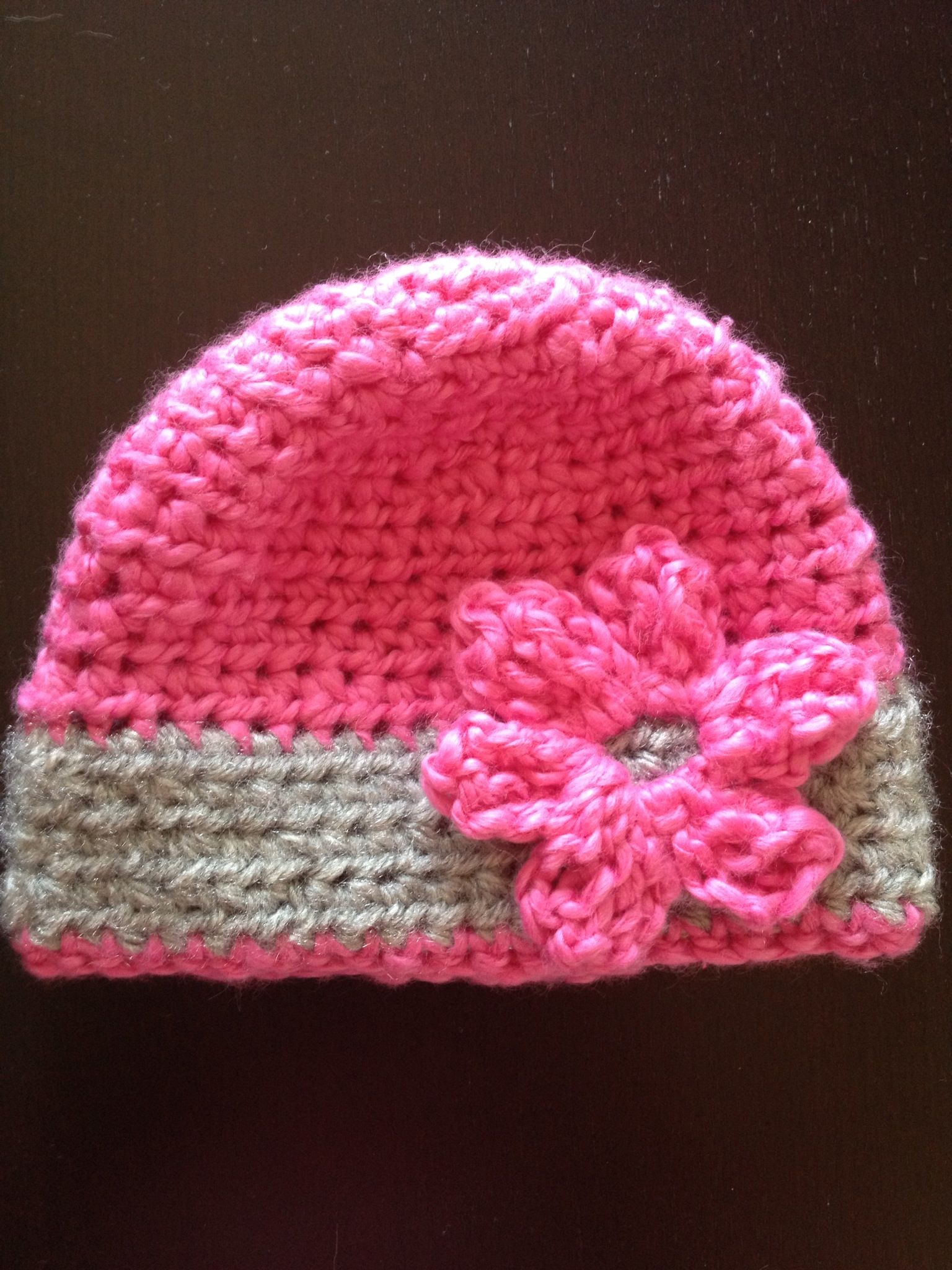 Crocheted hat with flower crochet Pinterest