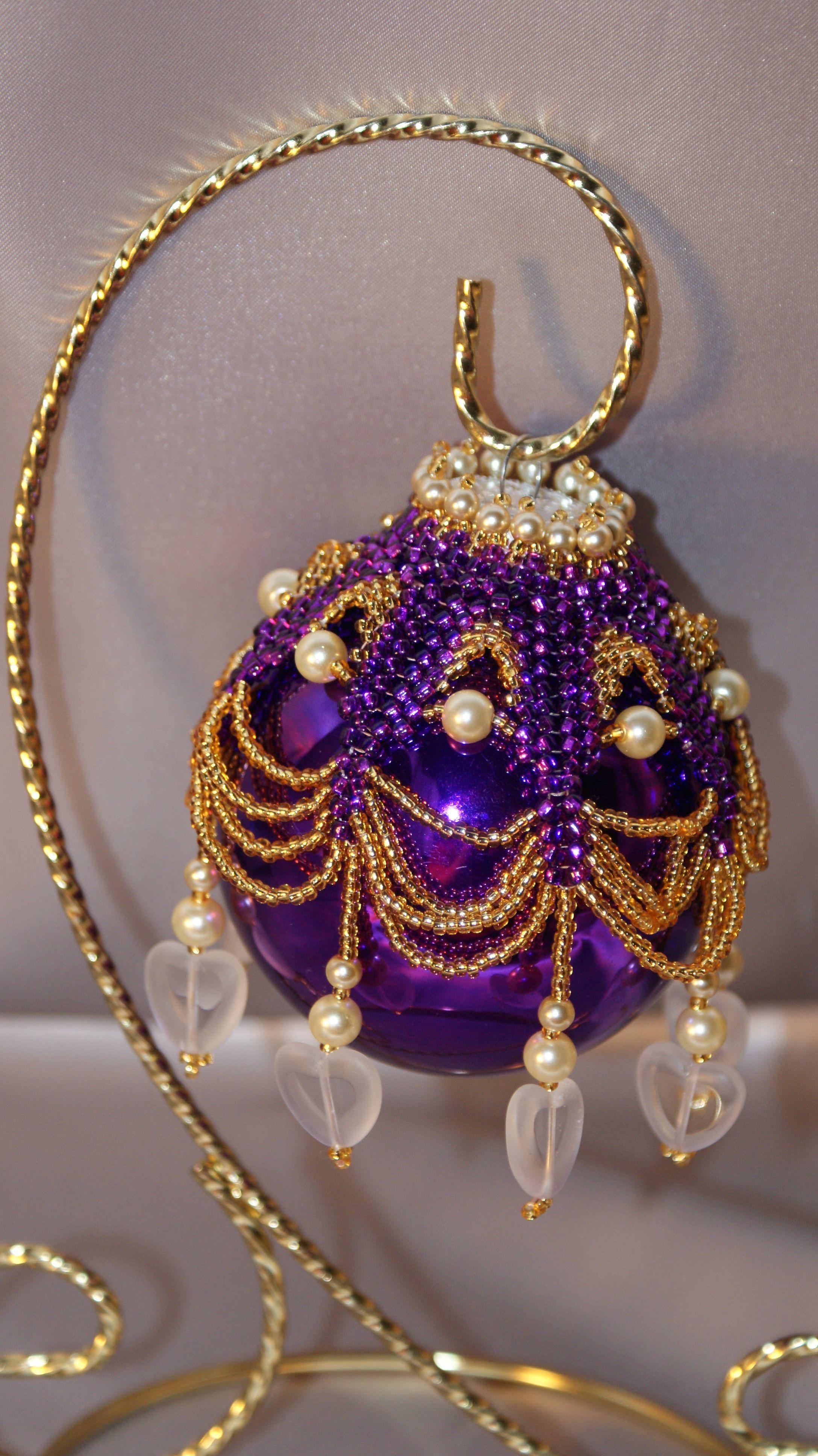 Beaded christmas ornament beadwork pinterest