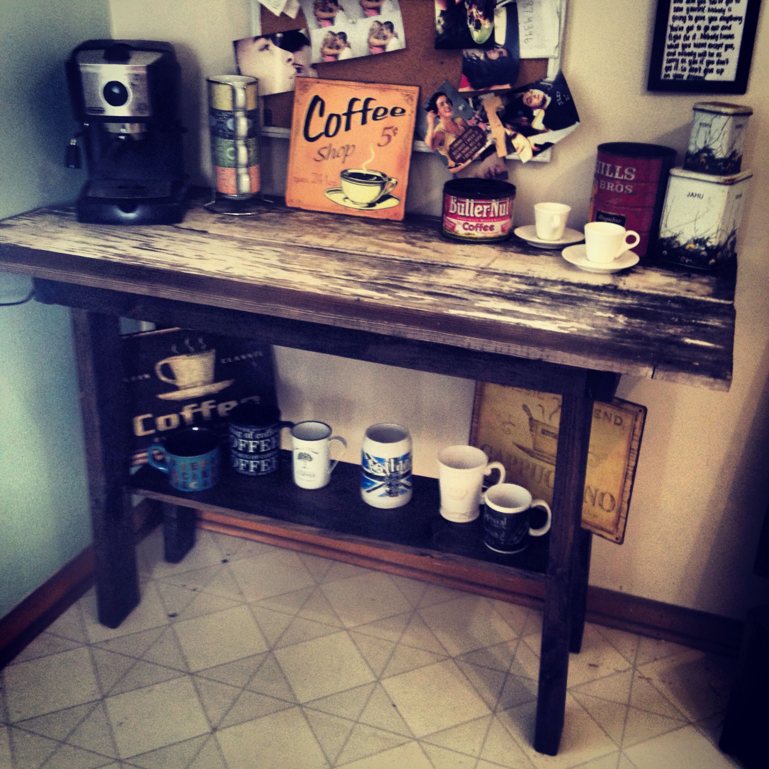 handbuilt coffee bar table barnwood coffee break